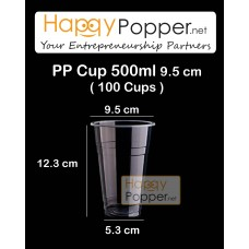 PP Plastic Cup 500 ml 16oz ( 100 Cups )