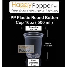 PP Plastic Round Button Cup 500 ml 16oz( 50 Cups )