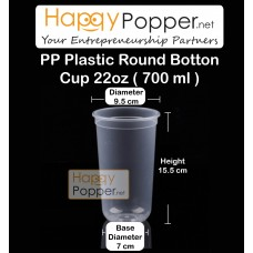 PP Plastic Round Button Cup 700 ml 22oz( 50 Cups )