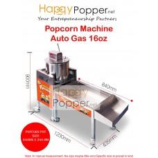 Popcorn Machine Auto with Stand 16oz ( Gas )