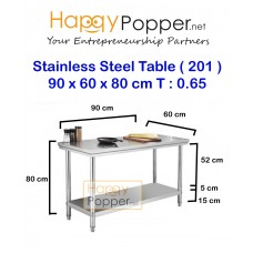 Stainless Steel Table 90 x 60 x 80 cm 0.65 T ( 201 )